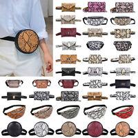 Women's Waist Fanny Packs Snake Print Belt Shoulder PU Leather Chest Bags Purse
