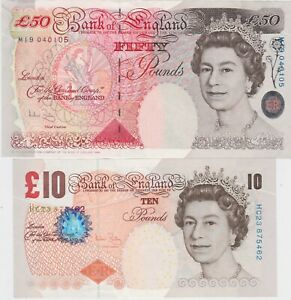 TWO B404 ANDREW BAILEY £50 & B400 £10 BANKNOTES IN NEAR MINT CONDITION