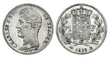 FRANCIA Charles X 1 Franc 1828 L 4 Feuilles - Rare! R3