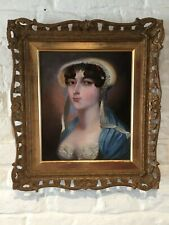 ANTIQUE EARY 19TH CENTURY OIL PAINTING - PORTRAIT OF A YOUNG LADY