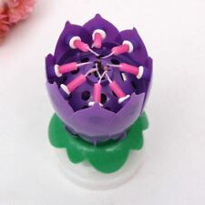 1 Music Spinning Birthday Candle Rotating Flower Party Cake Topper Pink Red Kid Purple