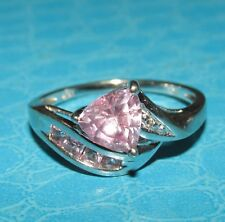 BEAUTIFUL SECONDHAND 10ct WHITE  GOLD PINK SAPPHIRE & DIAMOND  RING SIZE N