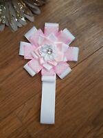 Magnetic Pram charm simple baby girl  romany pink white spot flower