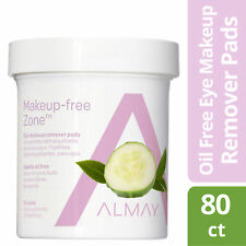 2 BRAND NEW Almay Eye Makeup Remover Pads Gentle Oil Free 80 Pads Each SEALED
