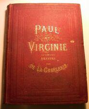1868 PAUL VIRGINIE CARTONNAGE*JOLIES GRAVURES*LIVRE BOOK ILE DE FRANCE ENFANTINA