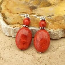 BALI RED CORAL BEAD 925 SILVER DROP EARRINGS JEWELLERY