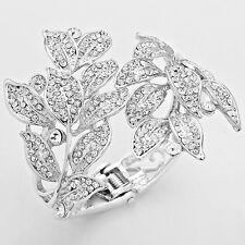 LUSH Silver Leaf Crystal  Bangle Cocktail Bridal Cuff Bracelet By Rocks Boutique