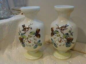"Bristol Glass Pair Vases Bird Flowers Hand Painted 11"" Tall"