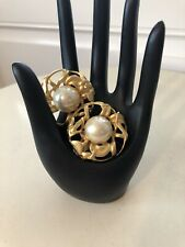 "Vintage Avante Garde Round Earings Matte Golden Metal Faux Pearl 2"" Clip On"