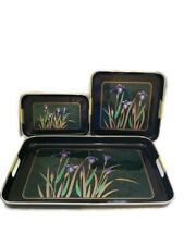 LACQUERWARE 3 Nesting Trays Black Iris Floral Made in Japan Vintage
