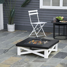 """Outsunny 34"""" Square Fire Pit Steel Stove W/ Mesh Cover Grill Net Outdoor"""