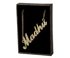 """Name Necklace """"MADHU"""" - 18ct Gold Plated - Diwali Name Plate"""
