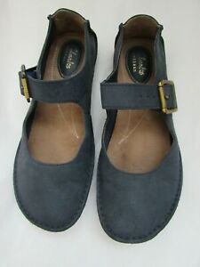 Clarks Artisan Flat Mary Jane Style Shoes Waxed Leather Navy Size 4 D EUR 37