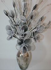 Artificial Flowers Black White Glitter Nylon Flower Arrangement Silver Vase 65cm