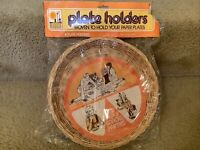 Vintage Wicker Rattan Picnic Paper Plate Holders