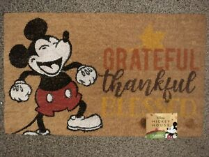 FALL Leaves Disney Mickey Mouse Outdoor Coir  Mat 18x28 Rug