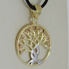 18K YELLOW WHITE ROSE GOLD TREE OF LIFE PENDANT 17 MM .67 INCHES, MADE IN ITALY