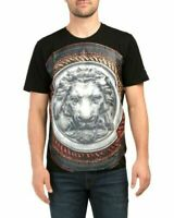 NWT Versace 19V69 Italy 3D Lion Shield Graphic Black Crewneck T Shirt L