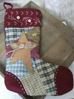 """Beautiful Vintage Looking CRAZY QUILT Christmas Stocking 16"""" EUC"""