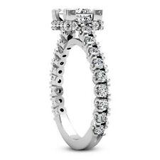Solitaire Pave 1.76 Carat Princess Diamond G/SI1 Engagement Ring 14K White Gold