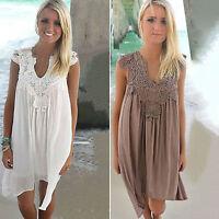 Womens Summer V Neck Chiffon Sleeveless Tops Loose Beach Lace Short Mini Dress