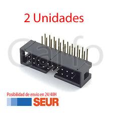 x2 Conector IDC Macho 20 Vias Pines PCB Acodado