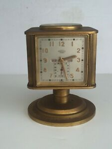 Vintage 1950s Swiss Angelus METEO 5 Function Brass Clock Thermometer Compass +