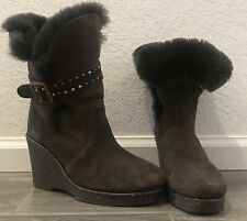 Emu Australia Womens Boots Sz 7 Brown Suede Sheepskin Lined Heighton Lo Wedge