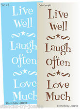 Vertical Lg. Stencil Live Well Laugh Often Love Much Scroll Star Prim Art Signs