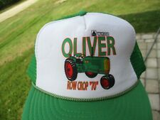 """Vintage White/Oliver Row Crop """"70"""" Tractor Snap Back Mesh Hat Farm"""