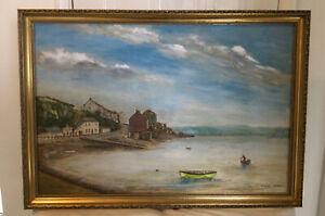 Vintage Oil Painting Moored Boat On Saltash Passage Signed P.j.wood