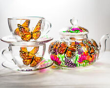 Tea Set 700 ml Teapot with 2 Cups and Saucers Monarch Butterflies