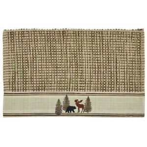 2 Wilderness Trail Bear Moose Heavy Woven Cotton Rustic Country Placemats 13x19