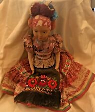 "Antique Doll in Native Dress 18"" Tall Plastic Face Fabric Body European"