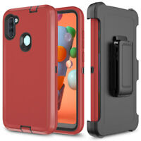For Samsung Galaxy A11 Phone Case, Shockproof Hybrid Armor Stand Belt Clip Cover