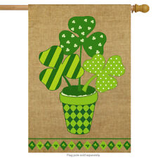 "Potted Shamrock Burlap St. Patrick's Day House Flag 28"" x 40"" Briarwood Lane"
