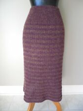 Vtg MISSONI Orange Label MIDI Sweater SKIRT Chunky Knit PURPLE Wool ITALY 44