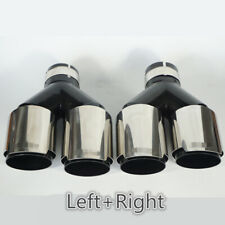 Stainless Chrome+Black Car SUV Dual Exhaust Tip Tail Muffler Pipe L+R 63mm Inlet