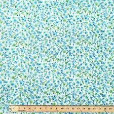 Blossom Blue Print Fabric Cotton Polyester Broadcloth By The Yard 60""