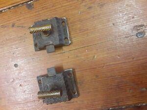 Pair SET Antique Old Eastlake Victorian Cast Iron Latch Cabinet Door Catch, 1871
