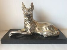 Antique Silver Plated German Sheppard Dod Statue On Marble Base