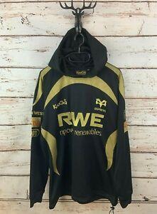 KOOGA OSPREYS Mens Hoodie Jumper M Medium Black Gold Polyester Rugby Wales