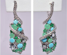 Magnificent Multi Color & Turquoise Diamond Earrings 18K White Gold