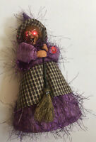 "Vintage 10"" Witch With RED EYES LIGHT UP AND LAUGHS Broom Sculpted Face SCARY"