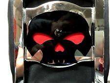 Harley Gloss Black skull backrest mounting plate for Sportster and Dyna