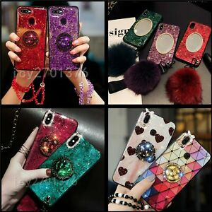 Bling Marble Ring Phone Cases Soft Mirror Cover With 2 Protector Tempered Film J