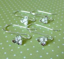 Brass Earwires With Flower Silver Colour Earrings Components Earhooks Pack of 10