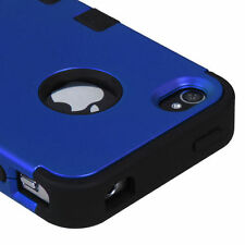 For iPhone 4 4S Rubber IMPACT TUFF HYBRID Case Skin Phone Cover Blue Black