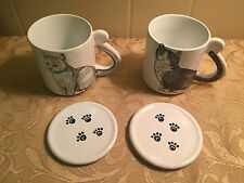 SET OF 2 CAT COFFEE MUGS W/PAW PRINT COVERS/COASTERS VINTAGE CHOPE CHAT 10OZ