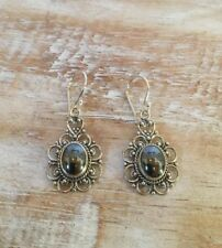 Hematite Filigree Flower 925 Sterling Silver Earrings Jewellery Next Day Post